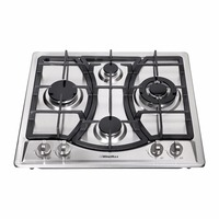 Windmax 23 Kitchen Curve Stainless Steel 4 Burner NG/LPG Gas Hob Cooktop Cooker