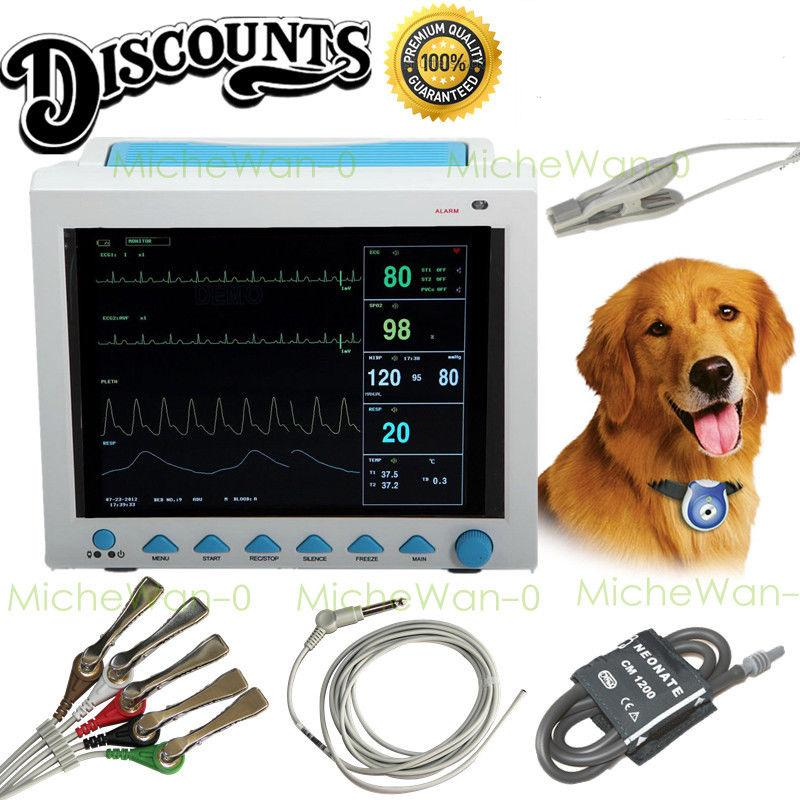 US Seller, Vet Veterinary Patient Monitor 6 Parameter,ECG,NIBP,PR,Spo2,Temp,Resp gpyoja 2016 hot selling multi parameter ecg nibp spo2 pr temp resp tablet patient monitor