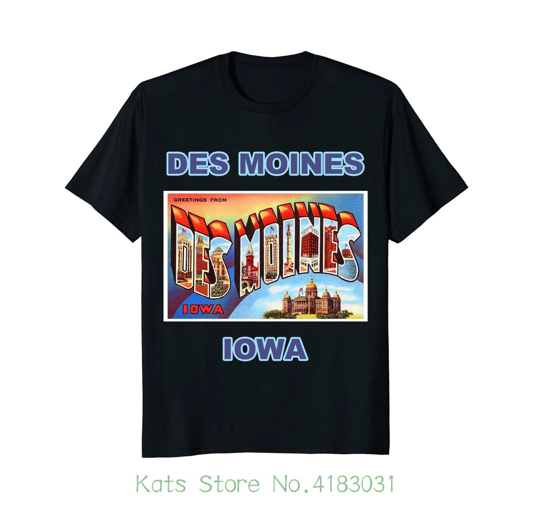 Lotta Shirts : Des Moines Iowa Postcard Greetings T-shirt Printed T-shirt Boys Top Tee Shirt Cotton