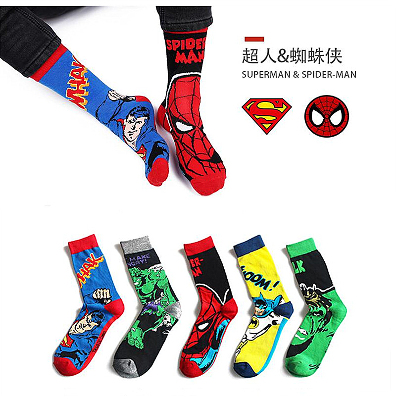 Classic Marvel Spiderman Cartoon Green Light Cotton Socks Hulk Superman Batman Socks Fashion Personality Avengers Socks