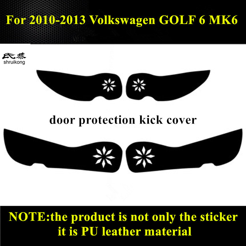 Free shipping 4pcs/lot PU leather car stickers car accessories door protection kick cover for 2010-2013 Volkswagen VW GOLF 6 MK6