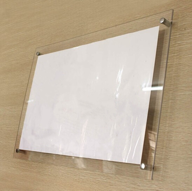 GT4166 A4 Wall Mounted Transparent Clear Acrylic Picture Photo Frame With Screws Movie Poster Display