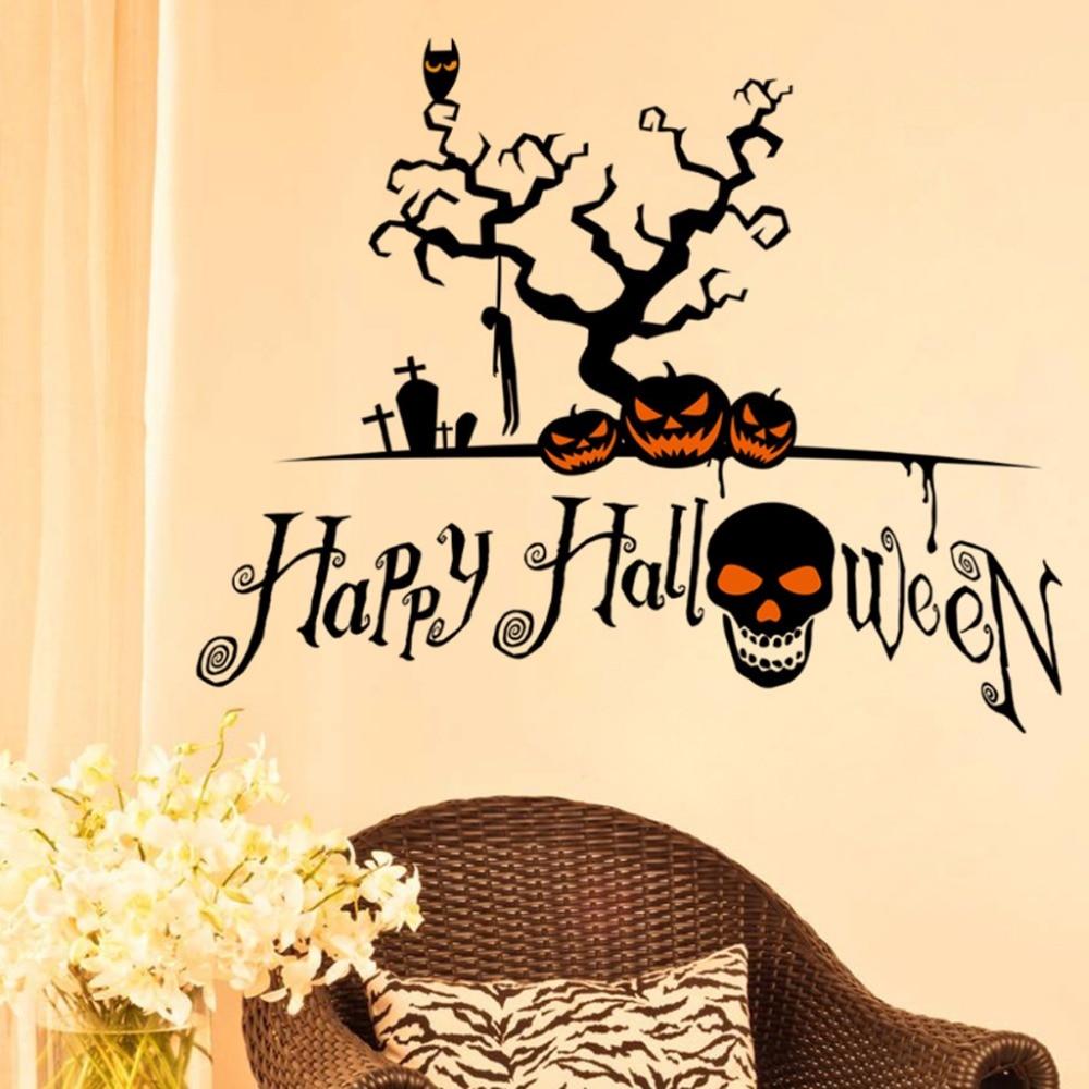 Hot Happy Halloween Spooky Pumpkin Skull Tree Wall Decal Home Office ...