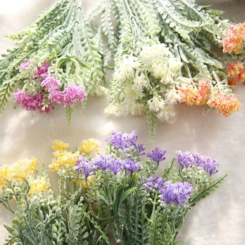 New!1PC Artificial Flowers Milan Flower with Green Plants Grass European Floral Plastic Flowers for Home Wedding DIY Decoration