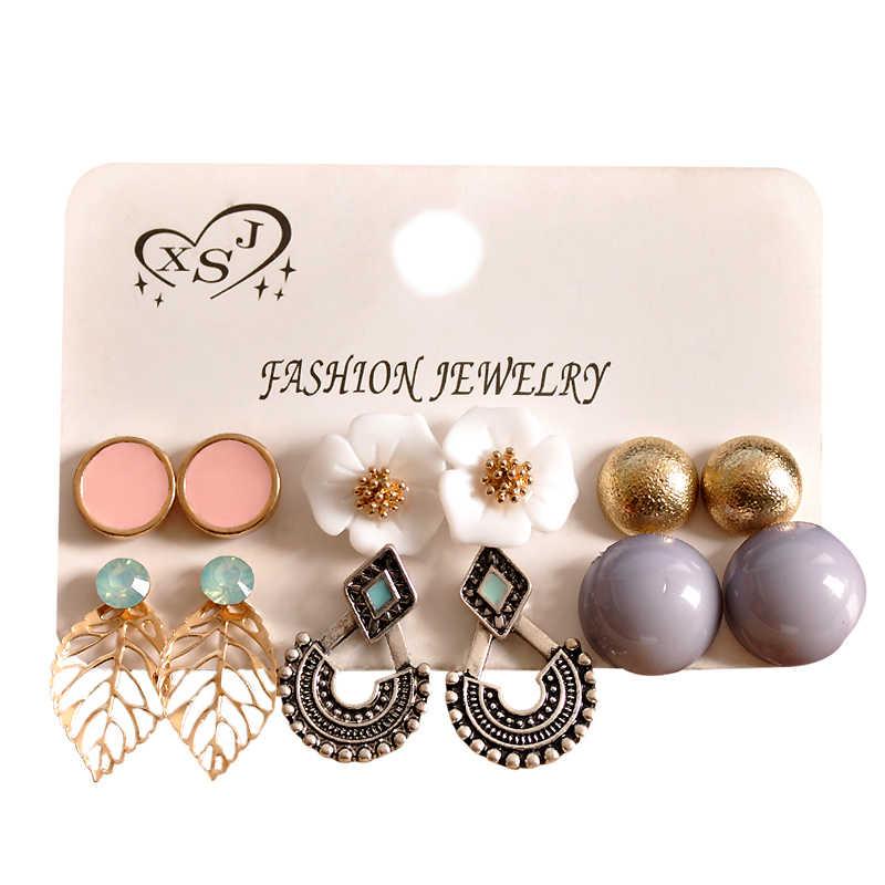 新ファッションレディースジュエリー卸売女の子真珠粉グレーゴールドスタッドピアス美しい混合 6 ペア/セットイヤリングギフト