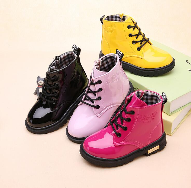 Size 13.5-22cm 2019 Autumn Winter Children Shoes PU Leather Waterproof Leather Boots Kids Snow Boots Girls Boys Fashion Sneakers