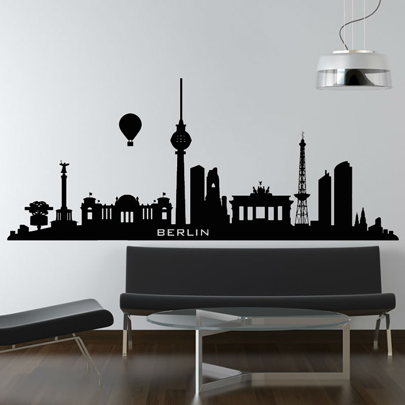 Berlin Wall Sticker City Hydrogen Balloon Decal Living Room Sofa Bedroom Background Home Interior Decor Removable Wall Art Mural
