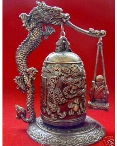 Copper Brass CHINESE crafts decoration Asian  Excellent Tibet Dragon buddha Bell Vintage Tibet-Silver old copper fast shipping