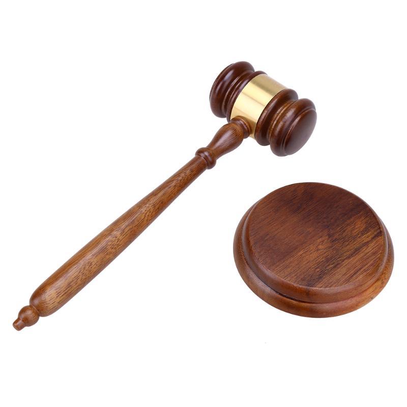 Durable Wooden Hammer Court Judge Auction Sale Walnut Wood Handmade Craft Lawyer Judge Hammer