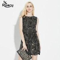 European Style Luxury Sequin Women Party Dress Eleghant Lady Evening Dresses Summer Black Sleeveless Fashion Midi