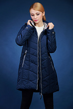 European winter jacket women solid color loose hooded long section blue cotton coat plus size 48-62 VLC-V510