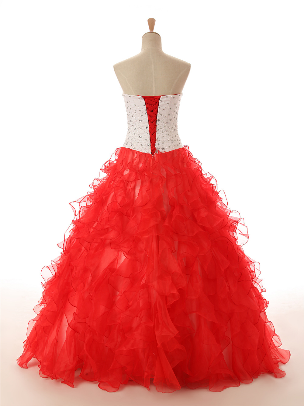 GSBRIDAL Light Blue Off the Shoulder Sweetheart Red Ruffle Skirt Beading Prom Dress