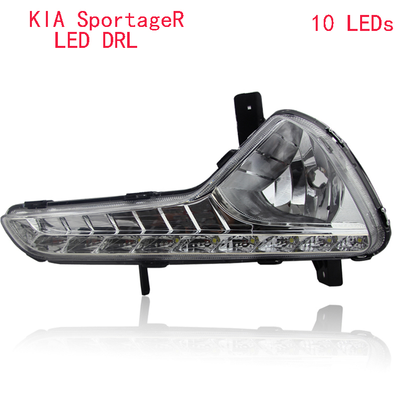Turn off and dimming style relay LED Car DRL Daytime Running Lights for  KIA Sportage R  2012 2013 2014   with fog lamp led car daytime running light drl bumper with turn off and dimming relay front fog lamp for ford focus 3 2012 2013 2014 12v