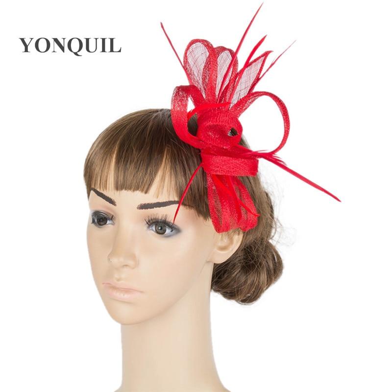21 colores seleccione derby rojo pelo fascinator sombrero tocado de - Accesorios para la ropa - foto 3