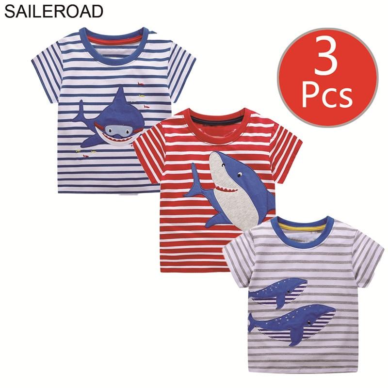 SAILEROAD 3pcs Shark Animal Print Boys Short Sleeve Tops For Baby Clothes Little Girls Tees Shirts Children's T-shirt Summer