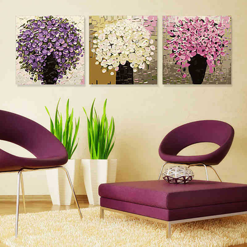 3pcs 2015 modern hand diy digital oil painting on canvas for How to make canvas painting