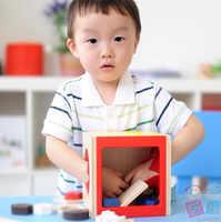 日本ed。インター木製ブロック形状選別キューブクラシック玩具木製教育知的玩具ジオメトリボックスギフト