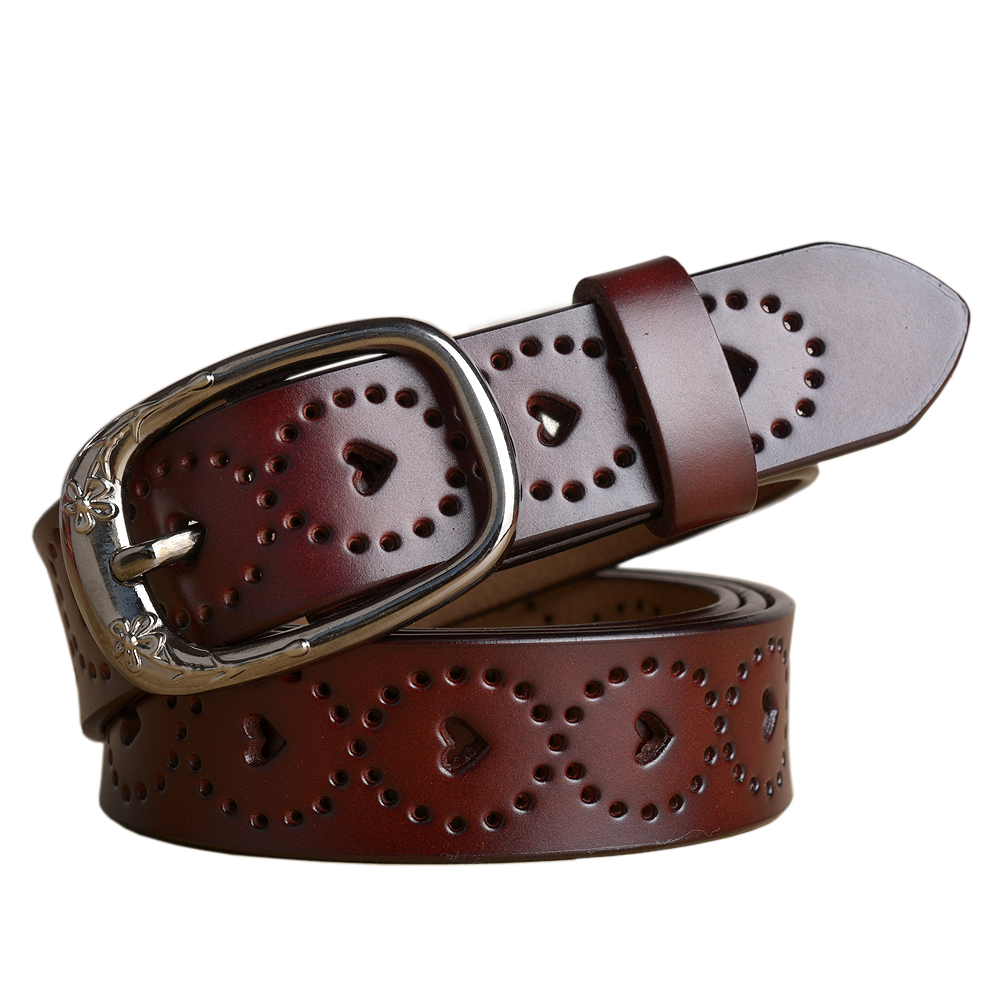 New Genuine Leather Women Luxury   Belt   High Quality Cow Leather Designer Womens   Belts   Jeans Hole Brown   Belt   Female Cummerbunds