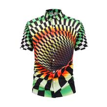 Illusion Vortex Print Hawaiian Shirts Men 2019 Summer Hip Hop Streetwear Harajuku Shirts Casual Short Sleeve Tops Beach Shirt поло print bar vortex