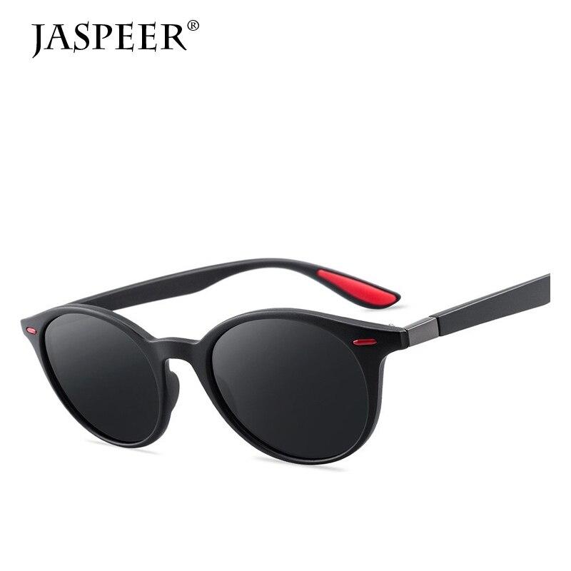 JASPEER Polarized Sunglasses For Men Round Lens Sun glasses Men's Driver Sunglasses Plastic Frame UV400 Eyeglasses