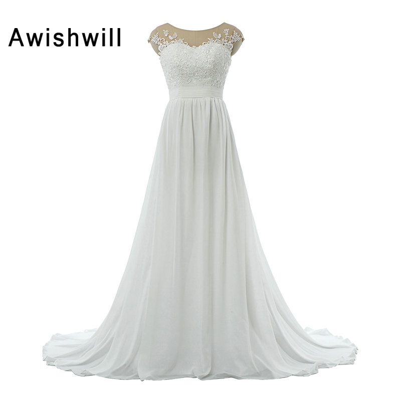 Real Picture Boho Wedding Dresses Cheap With Cap Sleeve Lace Appliques Chiffon See Through Back Beach Bridal Dress Wedding Gowns