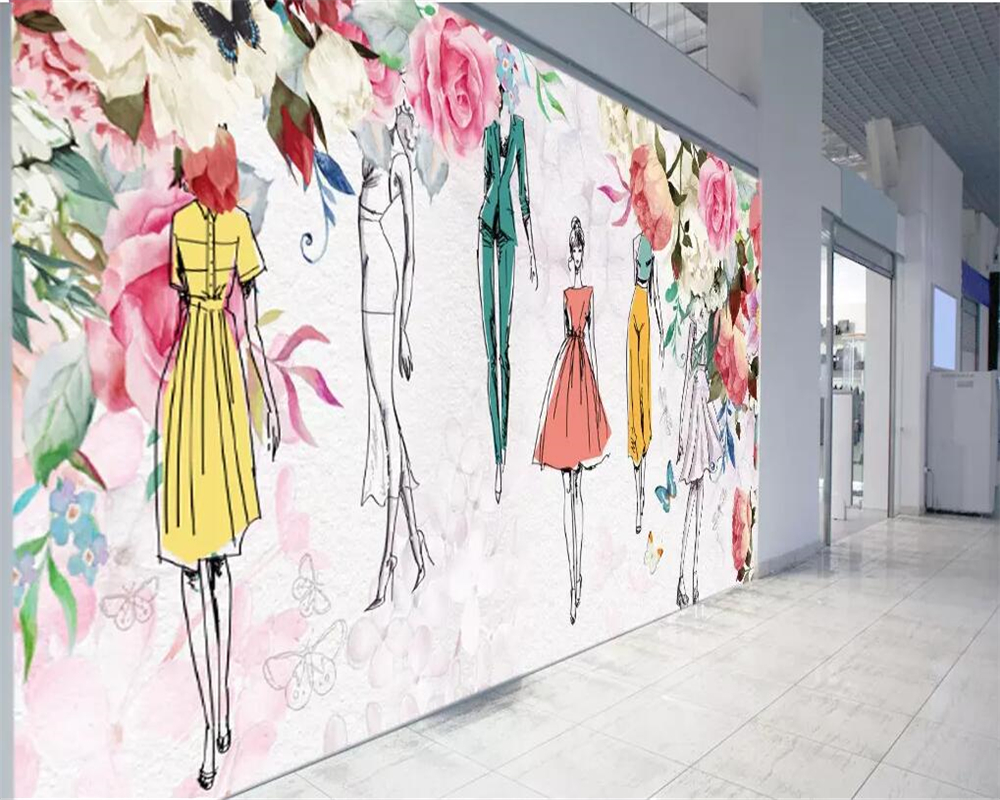 Beibehang Custom Mural 3d Wallpaper Watercolor Flower Beauty Retro Personality Fashion Beauty Clothing Store 3d Wallpaper Murals