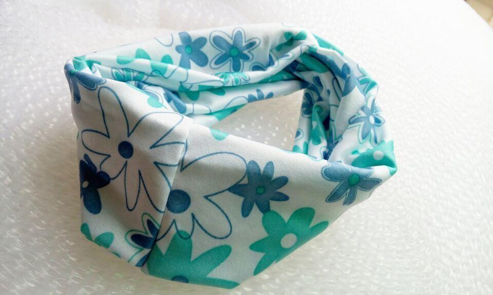 И розничная Модная хлопковая ткань с цветочным узором Тюрбан повязка на голову аксессуары для волос Популярные для женщин и девочек 12 см - Цвет: blue floral