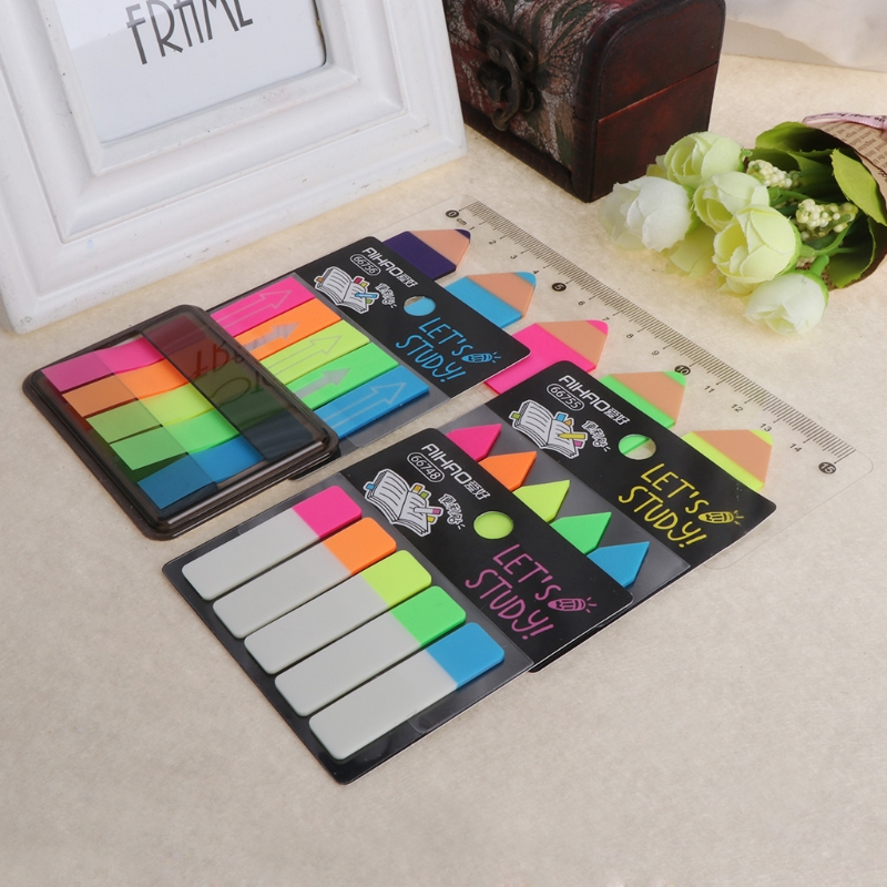 Colour Fluro Repositionable Adhesive Sticky Note Bookmark Marker Index Tab boxed