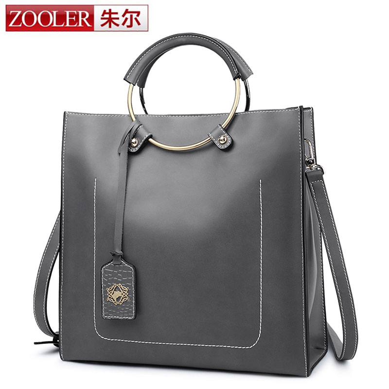 ZOOLER Autumn Fashion Women Cow Leather Handbags Thread Tote Bag Genuine Leather Shoulder Bag with Ring Crossbody Bags For Women zooler genuine leather genuine real cowhide small handbags high quality brand women plaid shoulder bags chain tote crossbody bag