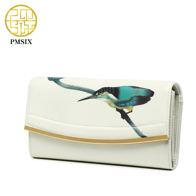Pmsix 2017 Summer New Kingfisher Printing  Women Genuine Leather Handbags Sequined Large Capacity Evening Clutch Bags P410008