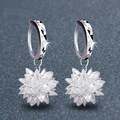 Free Shipping fashion jewelry Earring Silver plated White Crystal Earrings hook Ice flower earring  women's gift