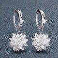 Joyería el Envío Libre Pendiente de Plata chapada Pendientes de Cristal Blanco gancho flor de Hielo pendiente regalo de las mujeres