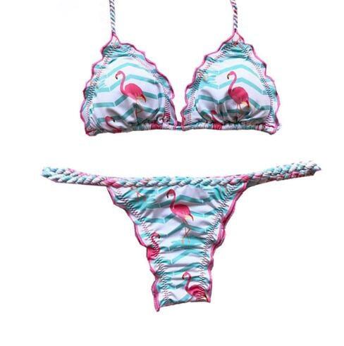 1e5584b3ddfb € 10.07 25% de DESCUENTO|Nuevo Bikini brasileño con estampado de flamencos  y piña 2018 trajes de baño sexis para mujer Push Up Bikini Set vendaje ...