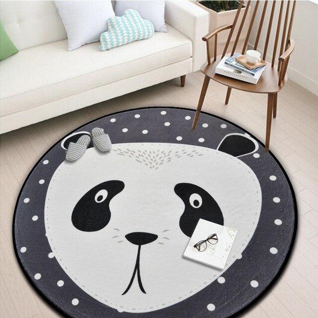 US $12.35 35% OFF|Weiß Grau Cartoon Tiere Bär Fuchs Panda Runden Tapete Für  Wohnzimmer wohnzimmer Schlafzimmer Wohnkultur Teppich Teppich Kinder ...
