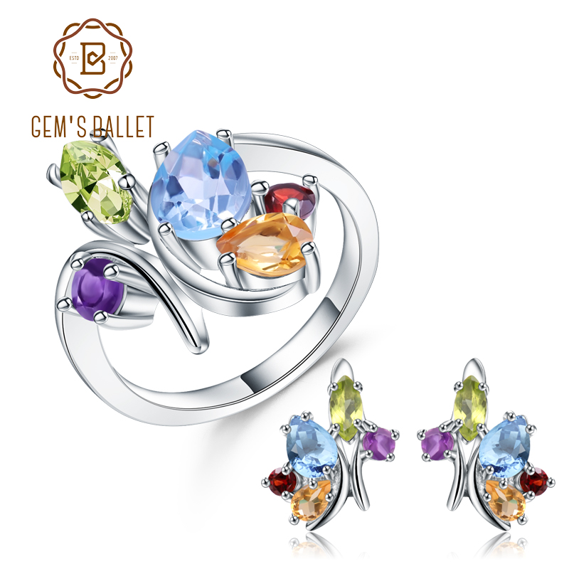 GEM S BALLET Multicolor Natural Gemstone Topaz Garnet Amethyst Ring Earrings Set 925 Sterling Silver Jewelry