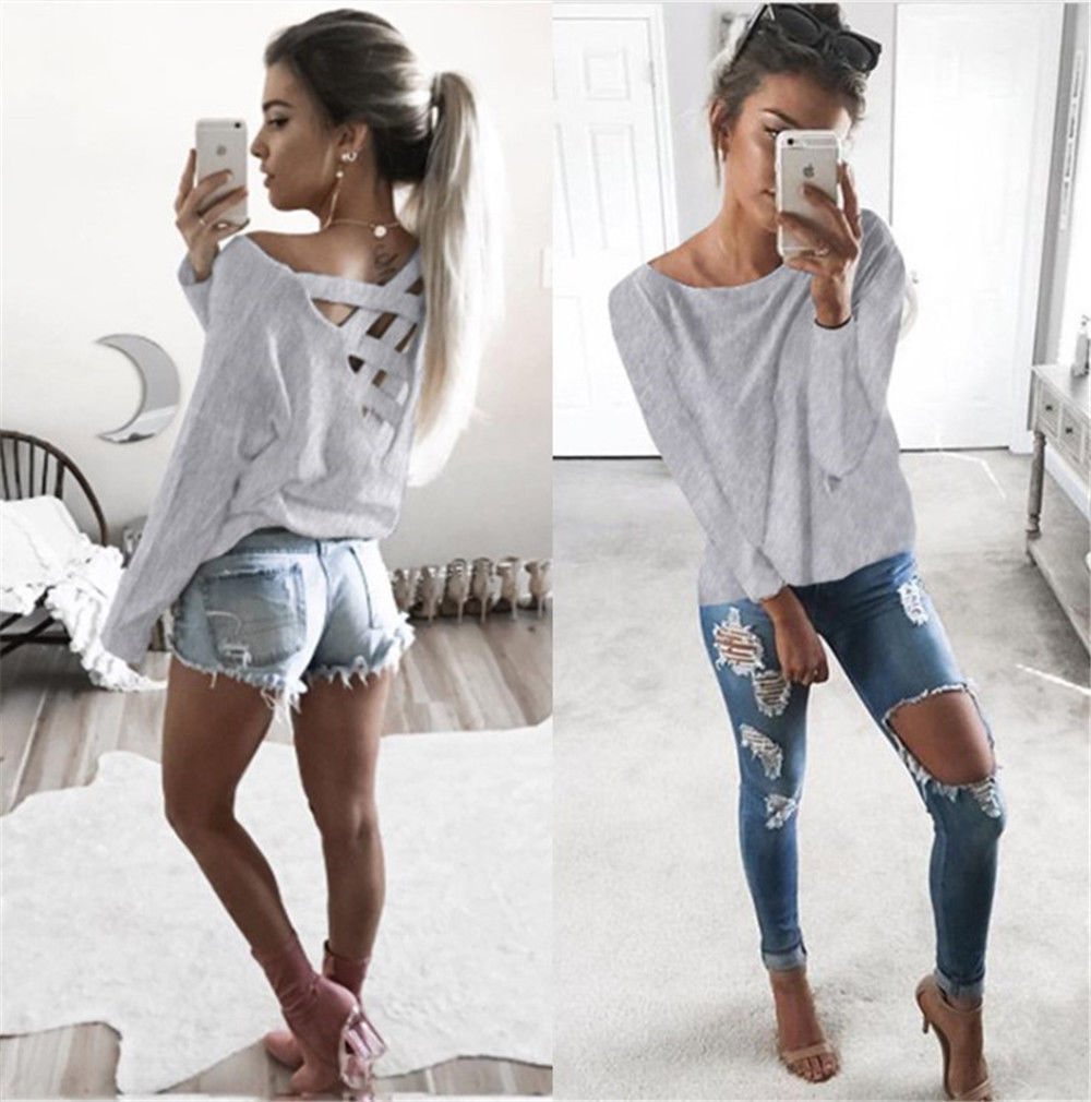 New Women's Loose Long Sleeve Top, Summer Back Cross T-Shirt, Casual, Cotton T-Shirt 6