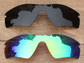 Black Grey & Emerald Green 2 Pieces Polarized Replacement Lenses For Radar Path Sunglasses Frame 100% UVA & UVB Protection