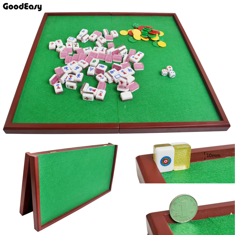 JIESITE Portable Mini Folding Mahjong Poker Table Traditional Game Travel Wood&Flannelette Mahjong Table With High Quality
