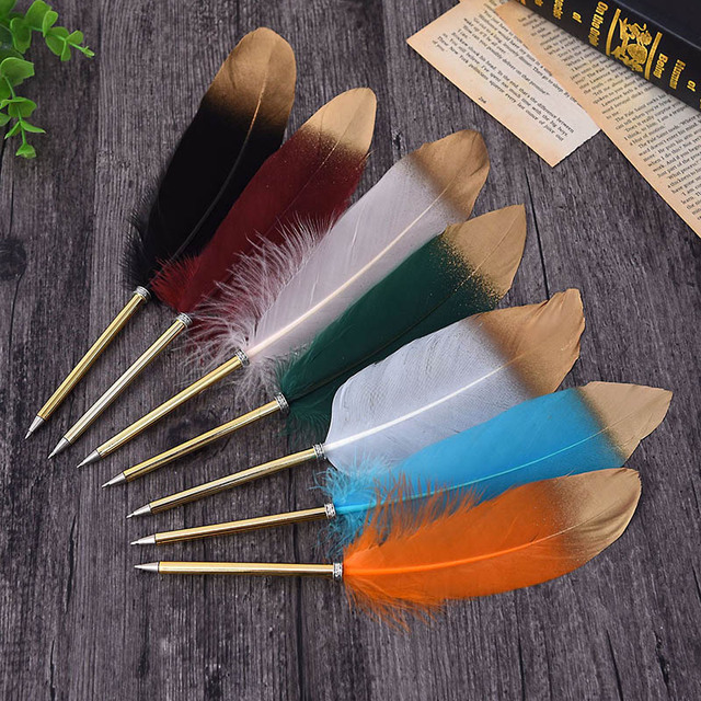 1Pc Cute Feather Ballpoint Pens Kawaii Plush Ball Pens Gold Powder Pens For Writing School Office Supplies Novelty Stationery 1