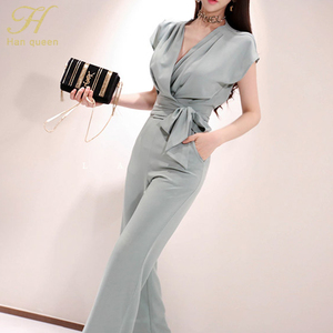 Image 2 - H Han Queen New 2 piece Suits Women 2019 Summer Elegant V neck Lace Up Crop Top & High Waist Solid Color Long Pants OL Work Set