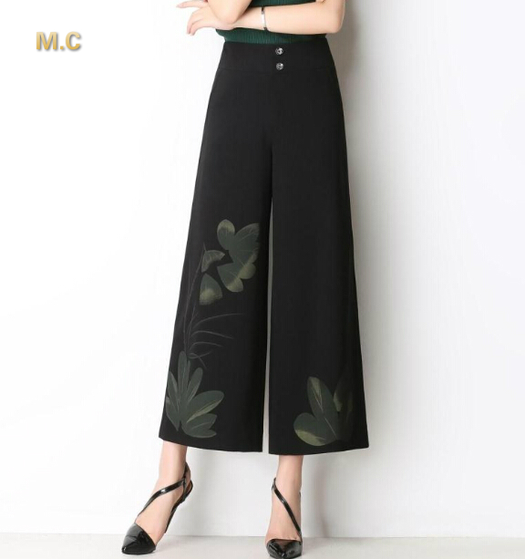 New fashion plus size wide leg pants for women black green red painted capris summer spring