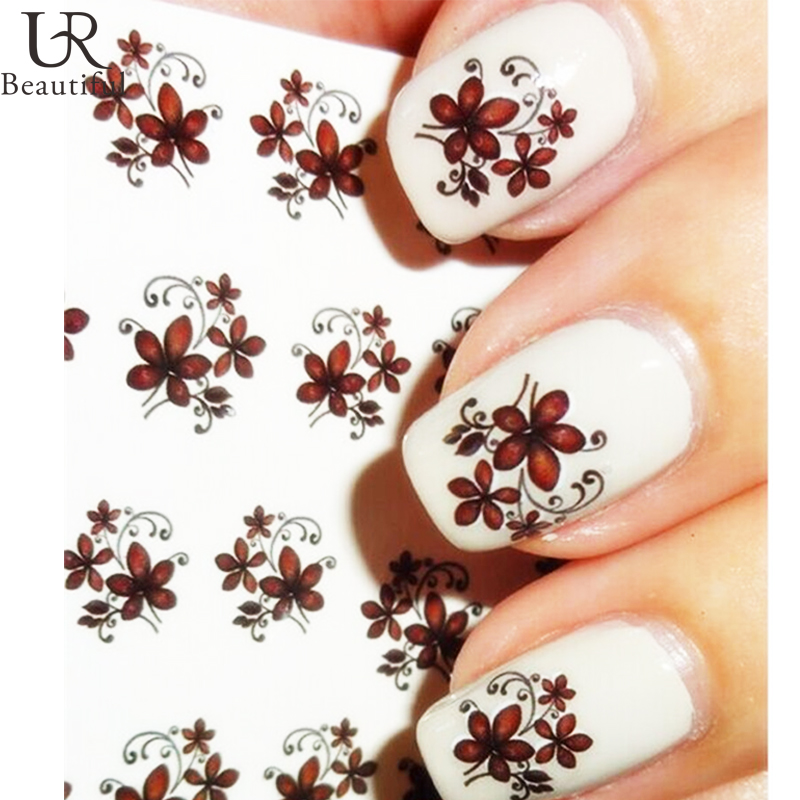 Water Transfer Foil Nails Sticker Pink Flower Nail Stickers Manicure ...