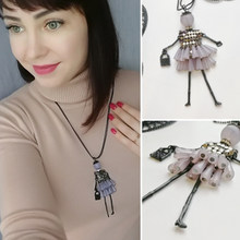 Fashion doll beads charms choker long sweater necklace Trendy acrylic statement necklaces&pendants colar girl women 5 colors(China)