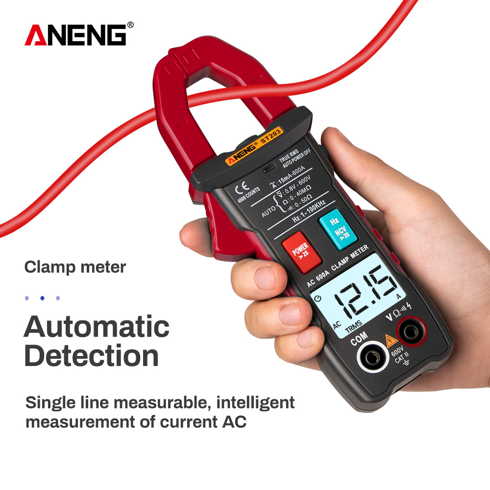 <font><b>ST203</b></font> Clamp Meter 4000 counts Digital Multimeter True-RMS AC/DC Voltage NCV Resistance Surge Inrush Current Auto Range Flash l image