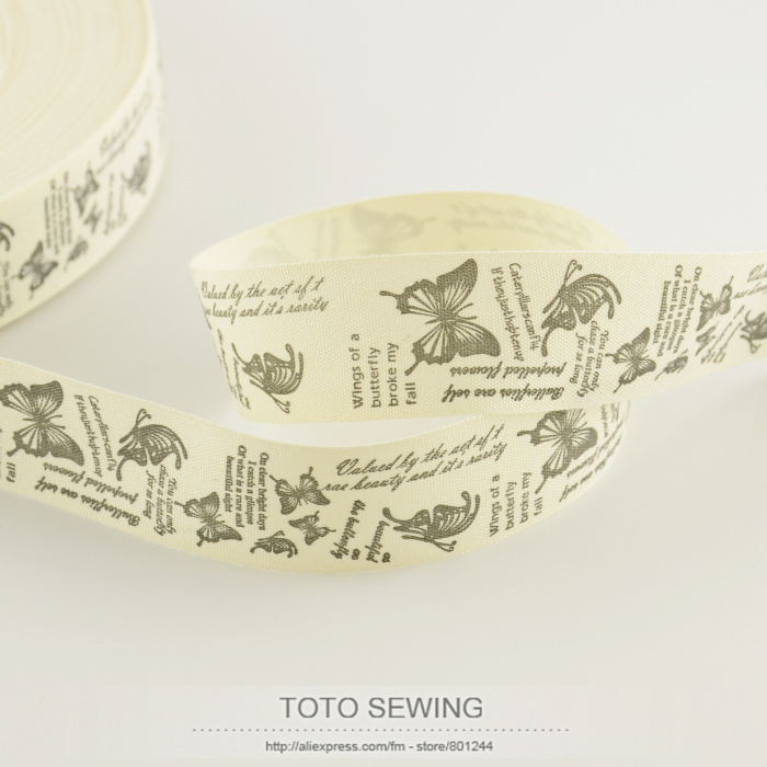 Retail mini.order is $5 (mix order) 2.5CM width label Zakka cotton ribbons butterfly label TOTO sewing accessory free shipping