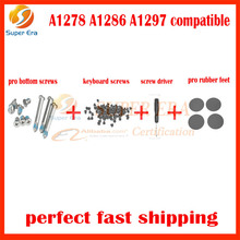"""10sets/lot for macbook pro 13""""15""""17"""" A1278 A1286 A1297 bottom keyboard screws set rubber feet screw driver perfect testing"""