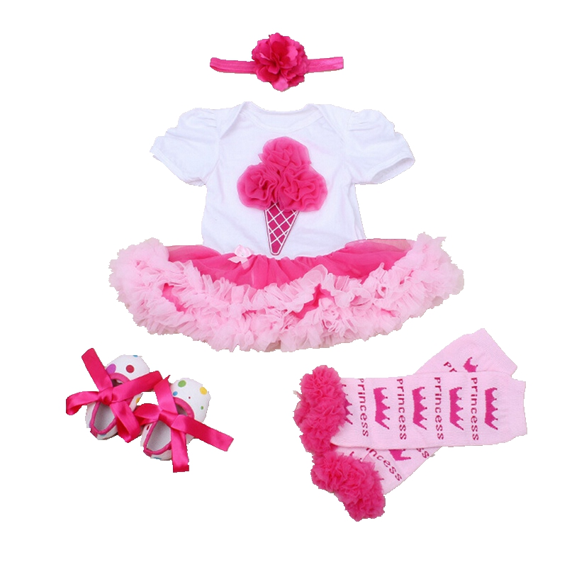 Ice Cream Applique Newborn Baby Girl Clothes Summer 2016 Lace Petti Romper Dress Headband Crib Shoes Legwarmers Infant Clothing