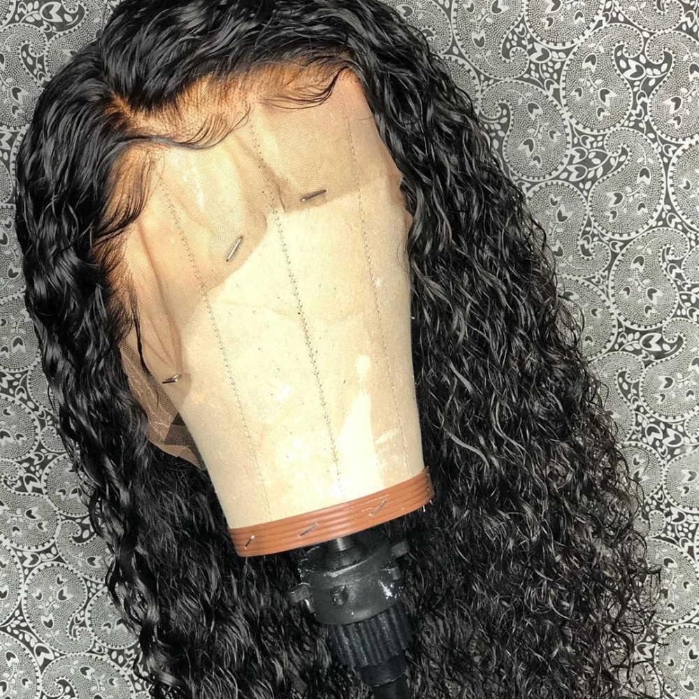 """Eversilky клей меньше 13x6 Синтетические волосы на кружеве человеческих волос парики для чернокожих Для женщин кудрявые бразильские Волосы remy детскими волосами предварительно вырезанные прическа """"хвост"""""""
