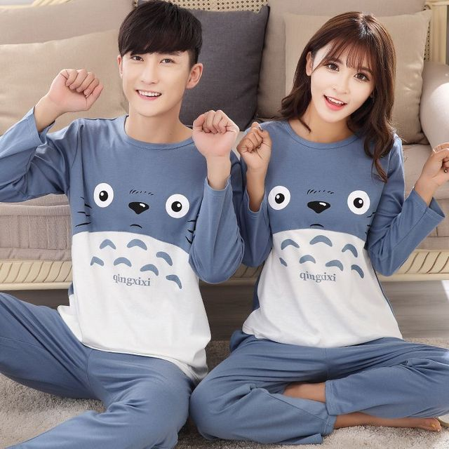 Sping Totoro cotton Pajama Sets Animal Cosplay Pyjamas For Men O-Neck Plus size Cartoon Lounge Set Casual Dressing Gown 122803