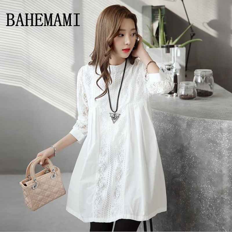 Bahemami Lace Maternity Shirts Three Quarter Loose Blouses Tops Clothes For Pregnant Women Spring Autumn Pregnancy Clothing New In Blouses Shirts From